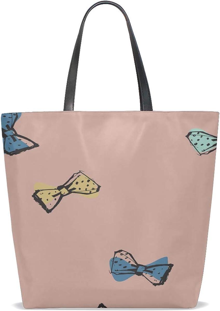 Gym Tote Bag Handle Satchel Lovely Tote Bag Purse Messenger Bags Shoulder Travel Bag Cute Gentlemans Colorful Bow Tie Printing Women Travel Tote Bag