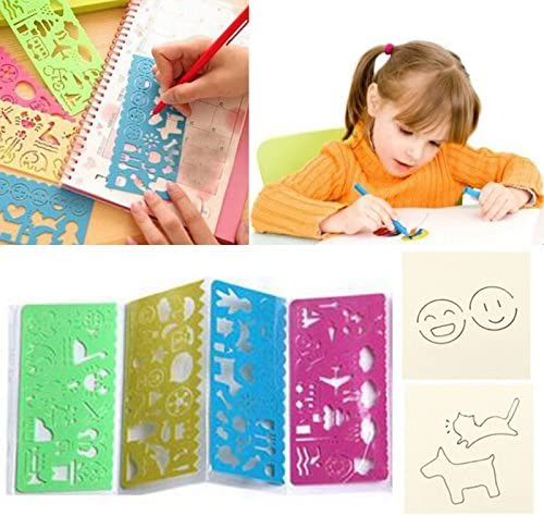Tiptiper 4pcs Colorful Plastic Geometric Shape Template Drawing Ruler Graphics Cartoon Stencils For Kids