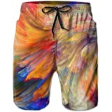 Fit Beach Swim Trunks for Men, Colorful Star River Swim Shorts Quick Dry Hip-Pop Board Shorts with Drawstring Regular & Extended Sizes Bathing Suits for Gym Surf