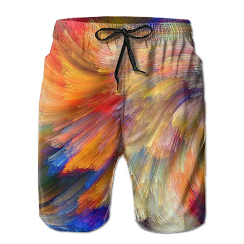 Boys Colorful Star River Swim Trunks Beachwear for Beach Athletic Sport - Classic-Fit Quick Dry Loose Drawstring Board Shorts Big & Tall Swim Trunks ()