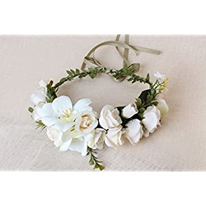 Sunrisee Flower Headband Artificial Floral Crown Wreath with Adjustable Ribbon for Wedding Festivals, White 112