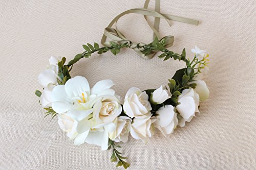 Sunrisee Flower Headband Artificial Floral Crown Wreath with Adjustable Ribbon for Wedding Festivals, White