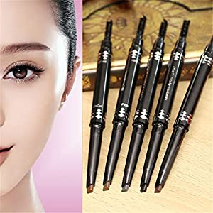CCbeauty Waterproof Eyebrow Pencil with Brush Twin Head Rotating Pencil,#3 Tea Color