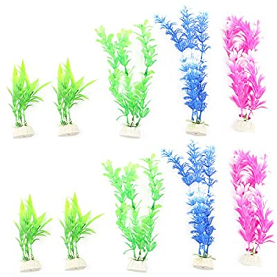 uxcell aquarium plastic plant 6 pieces freshwater multicolor suction cup