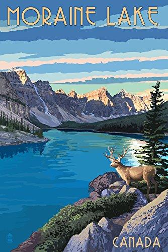 - Banff, Alberta, Canada - Moraine Lake (9x12 Art Print, Wall Decor Travel Poster)