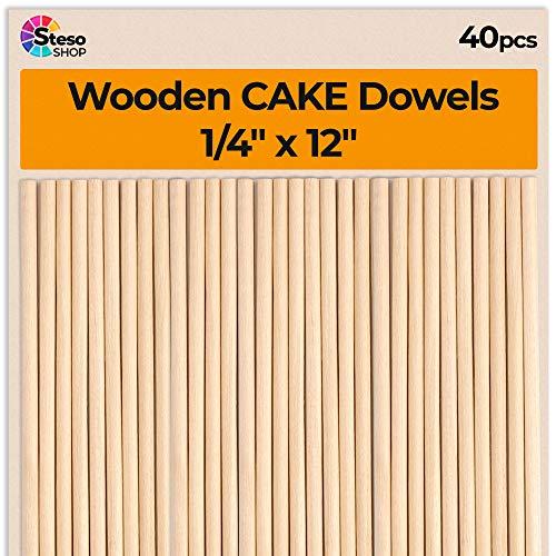 Cake Dowels Cake Sticks - Sturdy Wooden Dowels Rod 1/4 x 12inch - 40 pcs Lollipop Sticks Dowels - Wooden Dowels 1 4 (40)]()