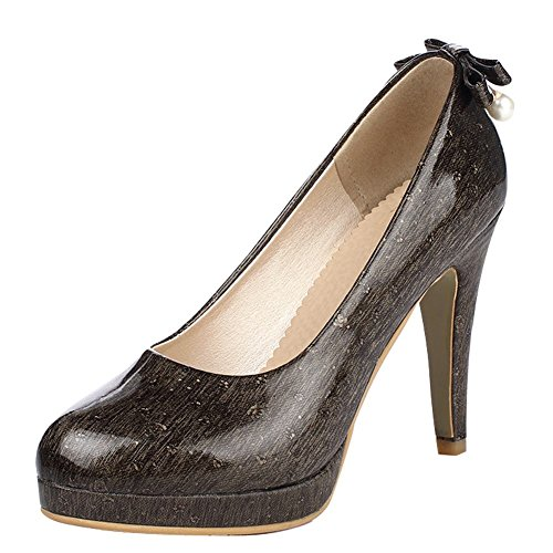 Mee Shoes Damen high heels Plateau runde Pumps Schwarz
