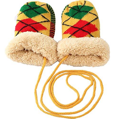 Дети Зима девочка Мальчик Детский вязаный шерстяной зимние теплые перчатки с ремешком подарок / Желтый