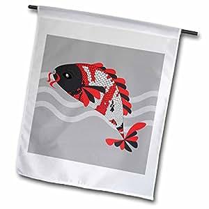 Janna Salak Designs Japanese Inspired - Koi Fish Grey Face - Traditional Colors - 18 x 27 inch Garden Flag (fl_58672_2)