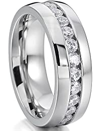 Silver Tone Wide 8mm Stainless Steel Eternity Ring Band CZ Wedding