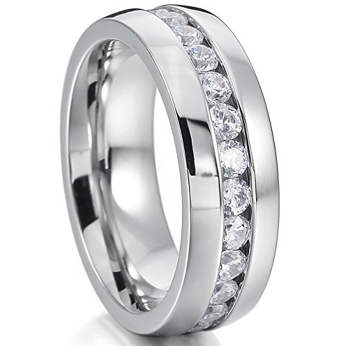 MOWOM Silver Tone Wide 8mm Stainless Steel Eternity Ring Band CZ Wedding