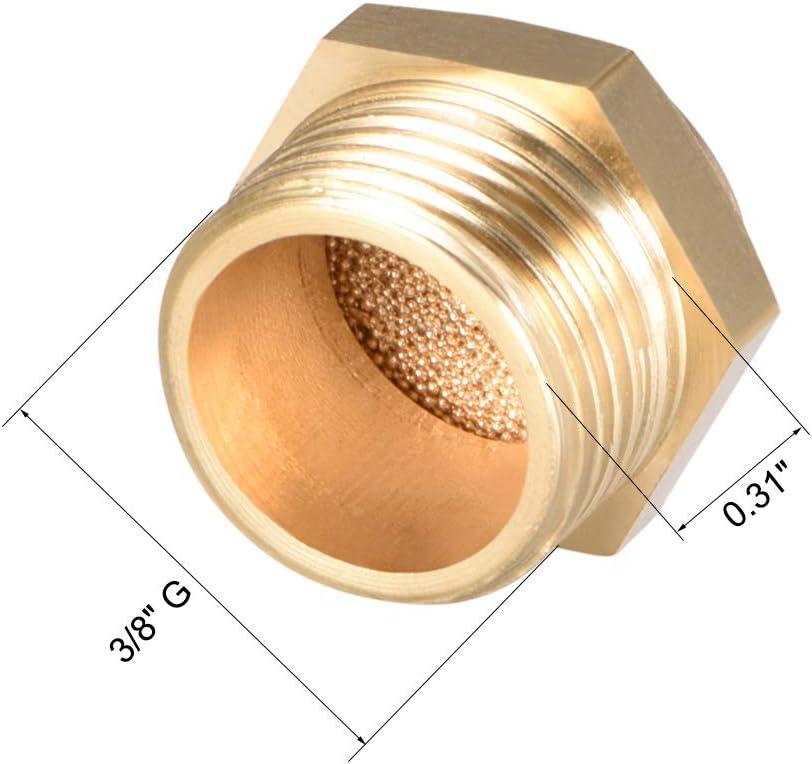 sourcing map Laiton Pot /échappement 3//8 G M/âle Filetage Bronze Silencieux Laiton Plat 5pc