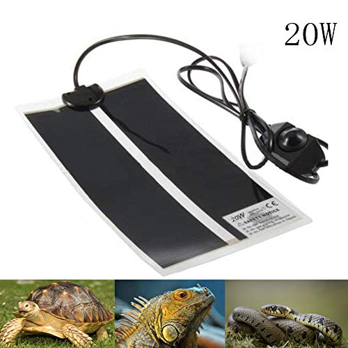 (AUOKER Reptile Heating Pad with Temperature Control, Adjustable 20 W Heat Mat for Reptiles Turtle, Tortoise, Snakes, Lizard, Gecko, Spider, Mammals, Crawler - Safety Turtle Aquarium Terrarium Heater)