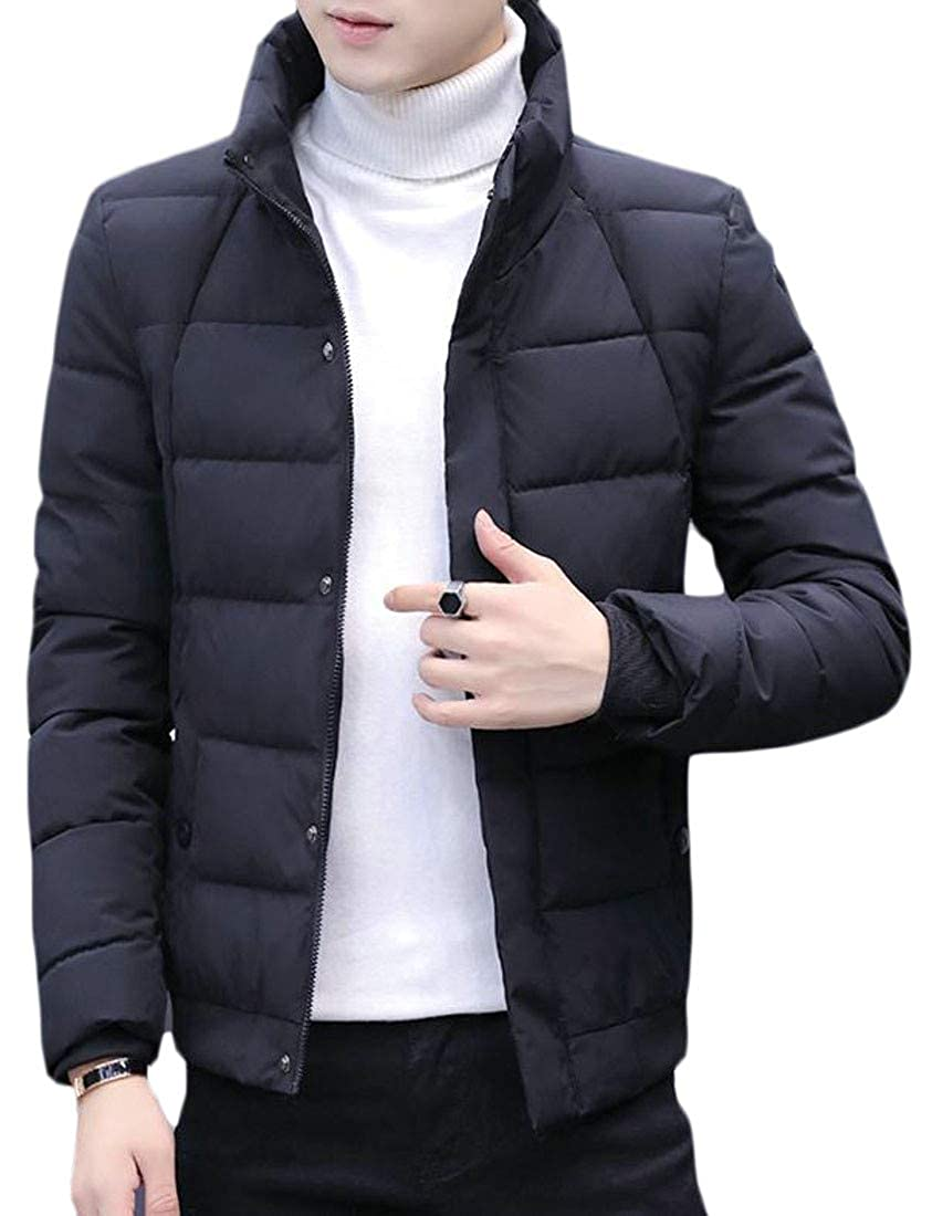 Macondoo Mens Winter Quilted Stand Collar Thick Zipper Down Jacket Parka Coat