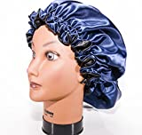 """Product review for Large, NAVY BLUE 22"""" Reversible Luxuries Pure Satin Hair Bonnet for Women, Men, Kids & Teens Used for Dry, Damaged, Colored Safe For All Hair Types - Anti Aging Hair Care"""