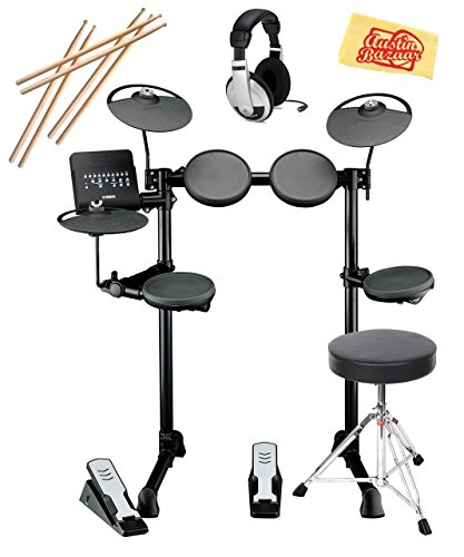 Yamaha Drum Thrones - Yamaha DTX400K Electronic Drum Set Bundle with Drum Throne, Drum Sticks, Headphones, and Polishing Cloth