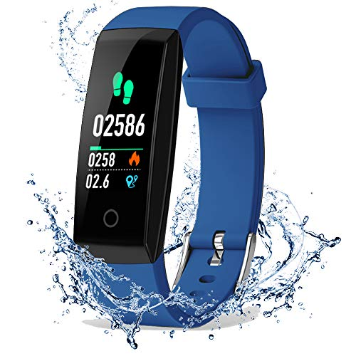 Port No Pressure (DoSmarter Fitness Tracker, Color Screen Activity Health Tracker with Heart Rate Blood Pressure Monitor, Waterproof Smart Pedometer Watch Band with Step Calories Counter for Kids Woman Man, Blue)
