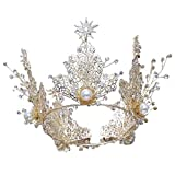 Girls Crown, Beautiful headdress/Retro Queen'S Golden Crown Bridal Crown Luxurious Air Court Accessories Wedding Accessories.