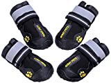 #5: QUMY Dog Boots Waterproof Shoes for Large Dogs with Reflective Velcro Rugged Anti-Slip Sole Black 4PCS (Size 6: 2.9x2.5 Inch)