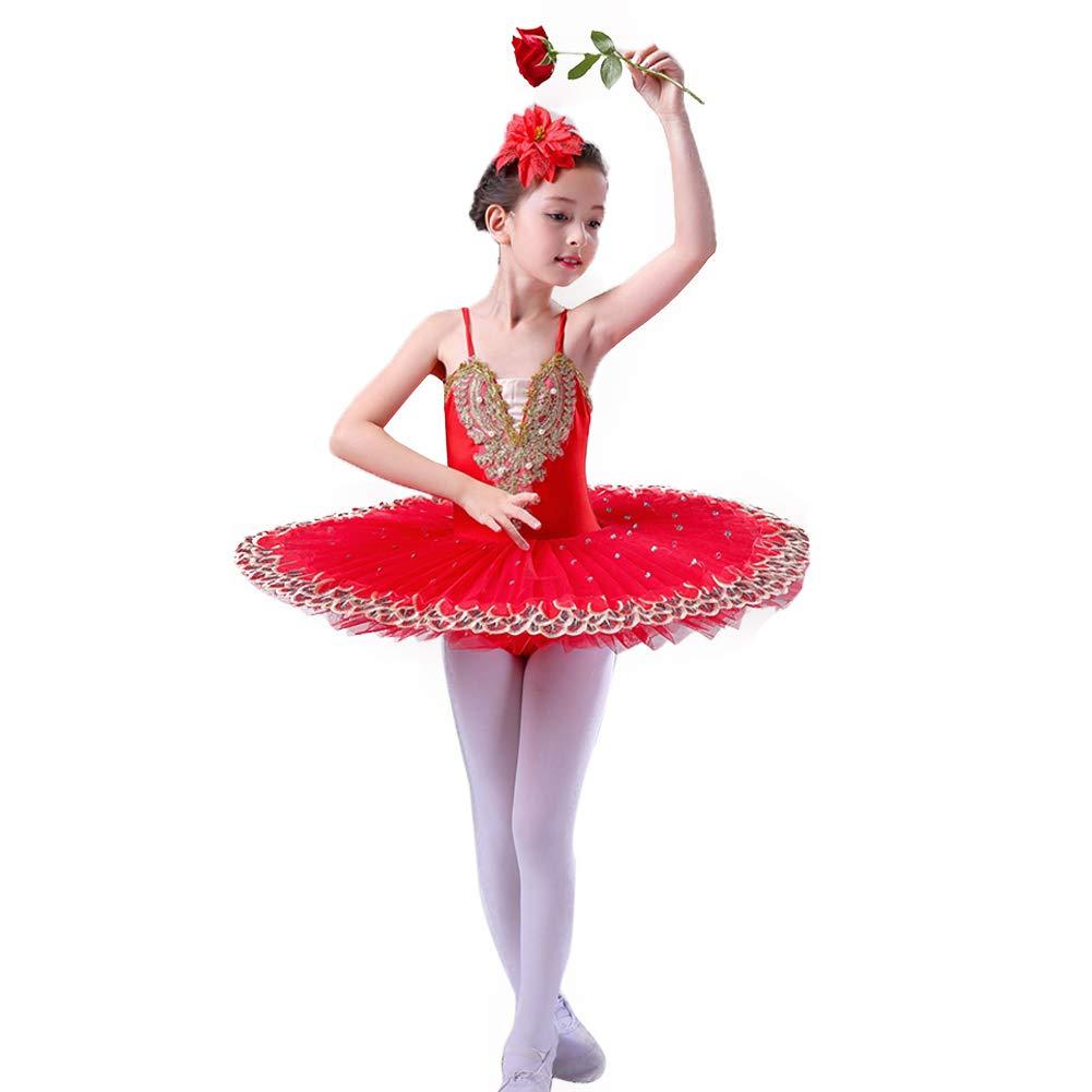JIE。チュチュ子供プロフェッショナル赤クラシックバレエ運動服チュチュスカートガルザバレエダンス服、赤、160センチ B07PS7ZWB3