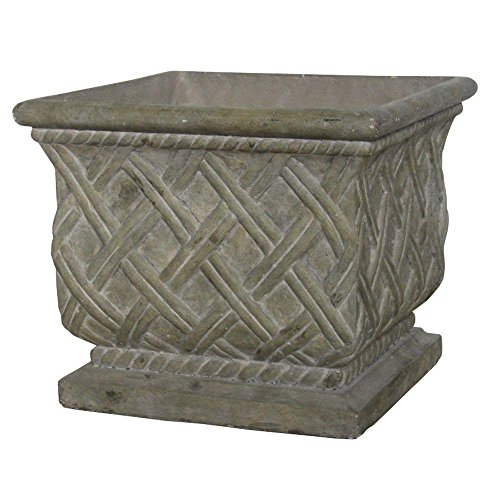 Stone Planter Old - MPG 18 in. Square Old Stone Cast Stone Lattice Planter