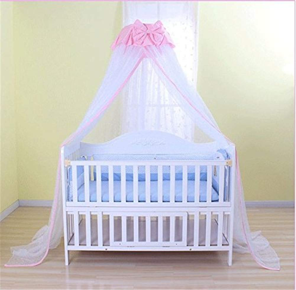 Baby Mosquito Net,Kids Bed Canopy, 50D Polyester Yarn, with Stand, Five-Speed Adjustment Height ,Dome Canopy Netting Bed Canopy (Pink)
