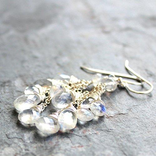 Rainbow Moonstone Earrings Sterling Silver White Gemstone cluster cascade