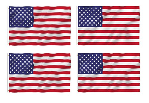 KAYSO INC 4 Pack 3x5 Feet Printed Polyester USA Flag with Ca