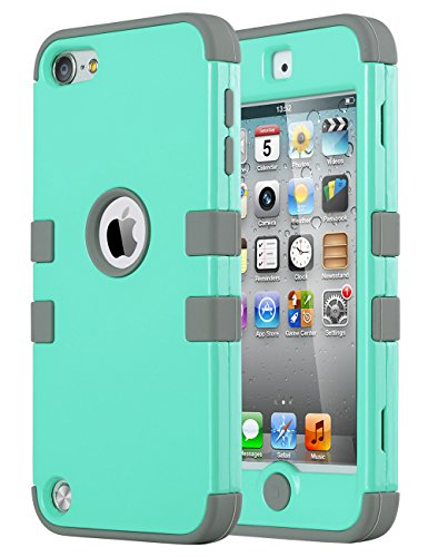 iPod Touch 6 Case,iPod Touch 5 Case ,ULAK [Colorful Series] 3 in 1 Hard PC+Soft Silicone Hybrid Dust Scratch Shock Resistance Anti-slip Cover for iPod touch 5 6th Gen(Aqua Mint/Grey)