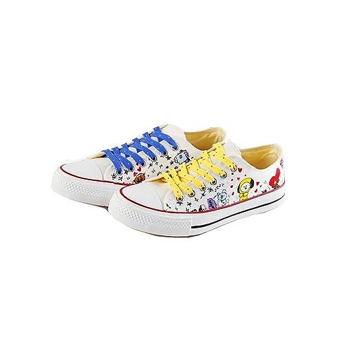 BTS Zapatos Classic Canvas Zapatillas Altas Adulto Zapatillas Deportivas de Malla Ligera para Mujeres Zapatillas Transpirables Buen Regalo para los ...