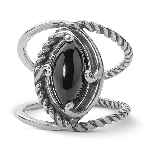 Carolyn Pollack Sterling Silver Black Agate Crossover Ring,  size 6 (Agate Black Silver Sterling)