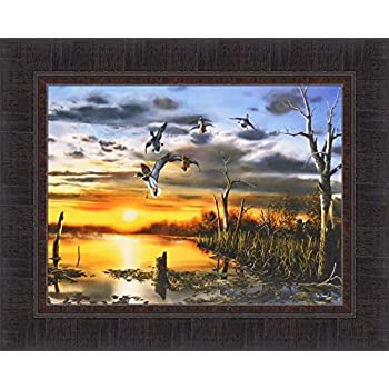EVENING REFUGE by Jim Hansel 17x21 Canadian Geese Autumn Sunset FRAMED PICTURE