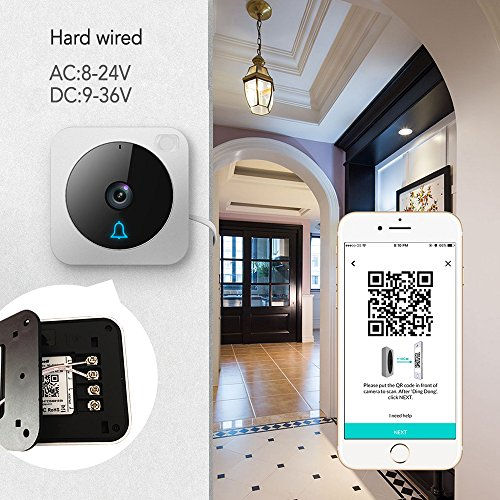 Wifi Video Doorbell,Works with Alexa Echo Show,Netvue Vuebell Doorbell Camera 720P HD Cam,Cloud Storage,Two-Way Audio,Smart Motion Detection,Infrared Night Vision AC 8-24V DC 9-36V(Hard Wire version) by NETVUE (Image #2)
