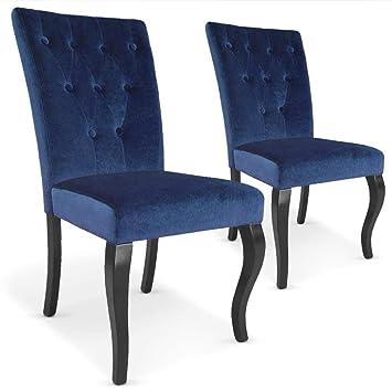 Menzzo Beata sillas, Terciopelo, Azul, 56: Amazon.es: Hogar