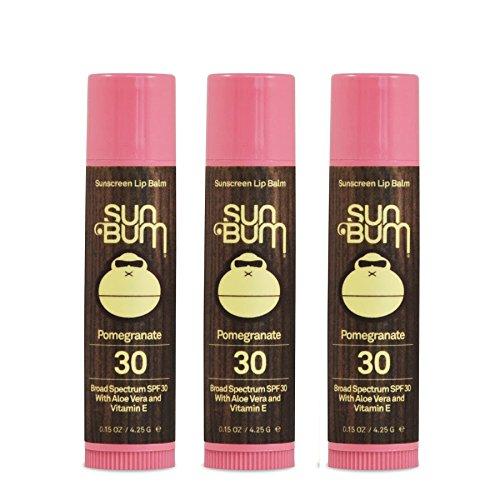 Sun Bum SPF 30 Lip Balm Pomegranate 3 Pack