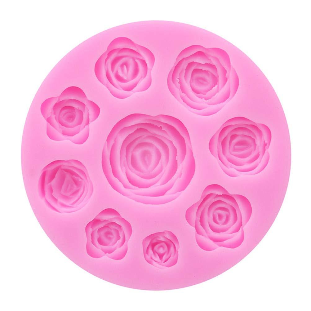 Flybloom Silikonformen 9 Löcher Runde Rose Blume Form DIY Fondant Schokolade Sugarcraft Plätzchenform Kuchen Dekor Backen Werkzeuge HeShengFactory