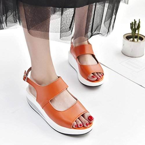 Lolittas Summer Beach Leather Wedge Sandals for Women Ladies,Mid Heel Platform Open Peep Toe Wide Fit Slingback Hiking Go Walk Outdoor Pantshoes Size 2-9 Orange