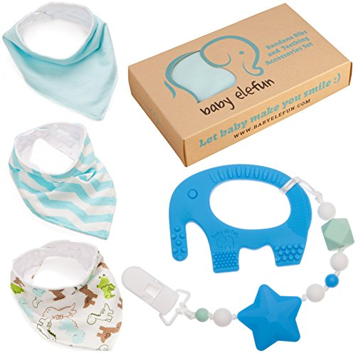 Easter Gifts For Boys - Unique Matching Set of Teether Pacifier Clip, Blue Elephant Teething Toy, 3 Pack Bandana Drool Bibs, 100% Safe BPA Free Silicone, Best for 0 3 6 Months Old Newborn Infant