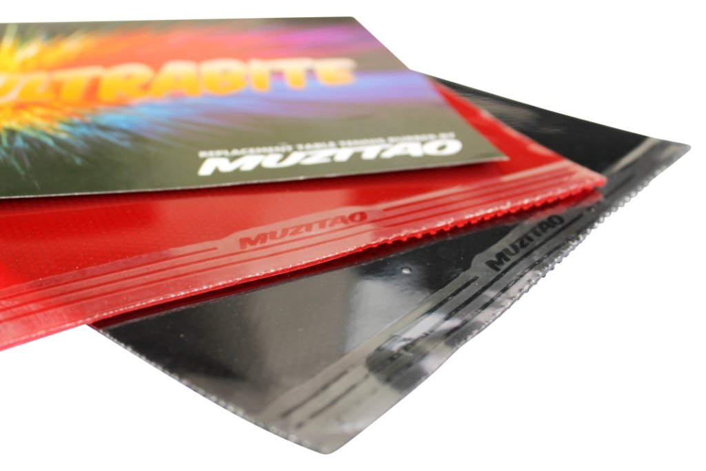 ultrabite tenis de mesa caucho por Muzitao (2unidades, 1x rojo + 1x negro) raqueta de tenis de mesa de recambio gomas (sin esponja)