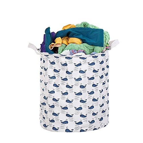 3Q BABY Laundry Hamper Cotton Linen Canvas Basket Nursery Bin Folding Laundry Hamper for Your Home Collapsible Waterproof Anti-Mold Coated (Large Sized-19.7H''x15.7D'') (whale) by 3Q BABY