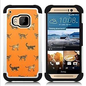 """HTC One M9 /M9s / One Hima - 3 en 1 impreso colorido de Altas Prestaciones PC Funda chaqueta Negro cubierta gel silicona suave (Gatito Casa Gato Naranja Modelo lindo"""")"""