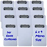 Trade Quest Memo Size 6'' x 9'' Clipboards Low Profile Clip Dry Erase Surface (Pack of 12)