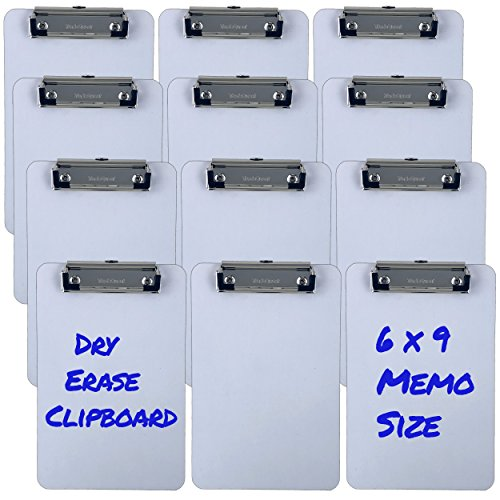 Trade Quest Memo Size 6'' x 9'' Clipboards Low Profile Clip Dry Erase Surface (Pack of 12) by Trade Quest