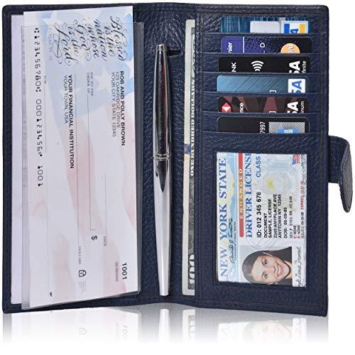 Leather Checkbook Cover For Men & Women- Checkbook Registers RFID Blocking checkbook wallet (Navy Pebble)