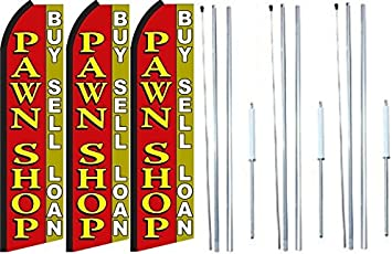 Pack of 3 Pawn Shop Now Open King Swooper Feather Flag Sign Kit with Pole and Ground Spike Cash Loans
