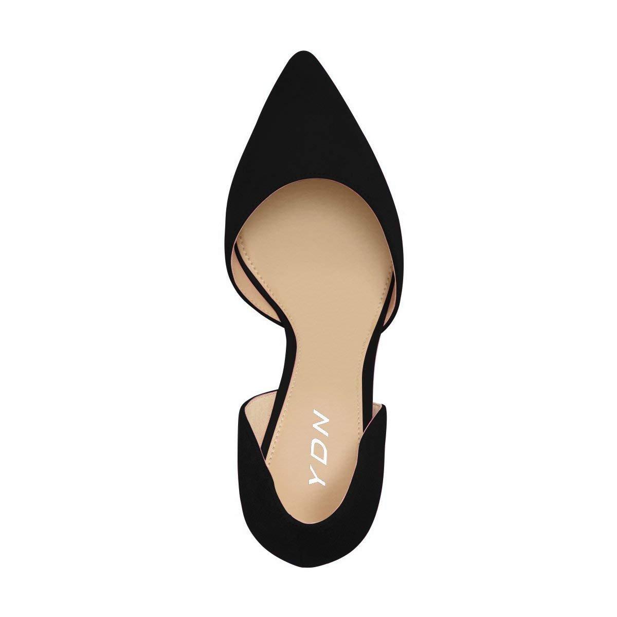 YDN Women Classic Low Heels Toe D'Orsay Pumps Suede Pointed Toe Heels Slip On Dressy Stilettos Shoes B0725CFGZ9 8.5 B(M) US Black 34d830
