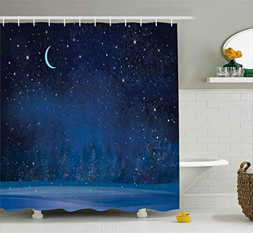 (Ambesonne Moon Shower Curtain, Mystical Winter Season Wonderland with Starry Sky Dark Night Forest Landscape, Cloth Fabric Bathroom Decor Set with Hooks, 70