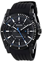 Bulova Men's 98B142 Precisionist Black Stainless Steel Watch With Black Rubber Band