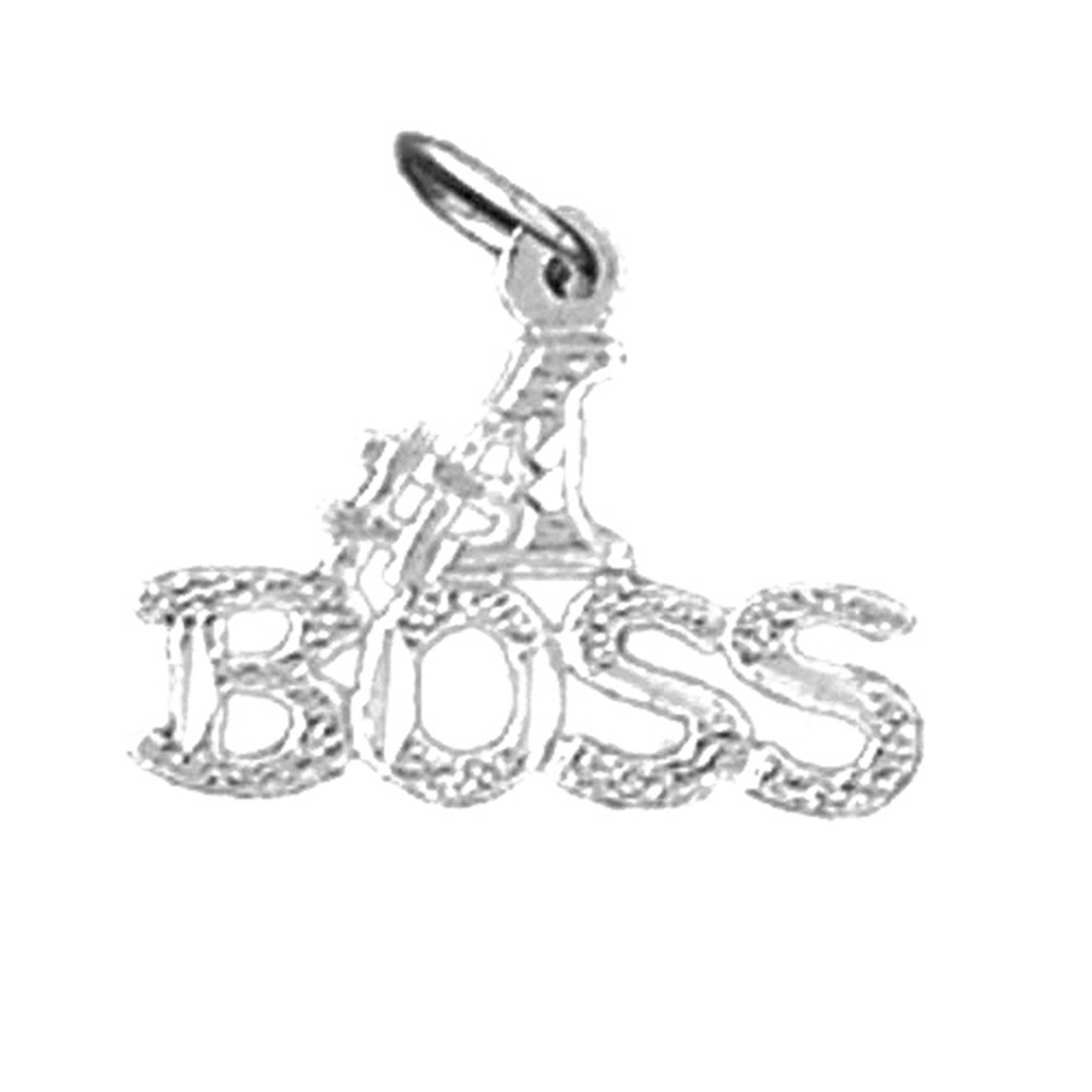 Rhodium-plated 925 Silver #1 Boss Pendant with 18 Necklace Jewels Obsession #1 Boss Necklace