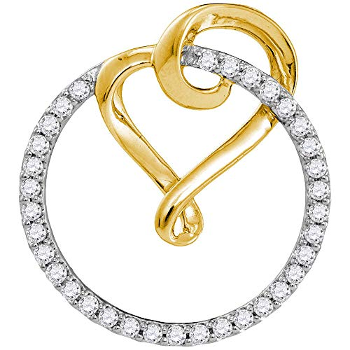 The Diamond Deal 10kt Yellow Gold Womens Round Diamond Heart Circle 2-tone Pendant 1/3 Cttw